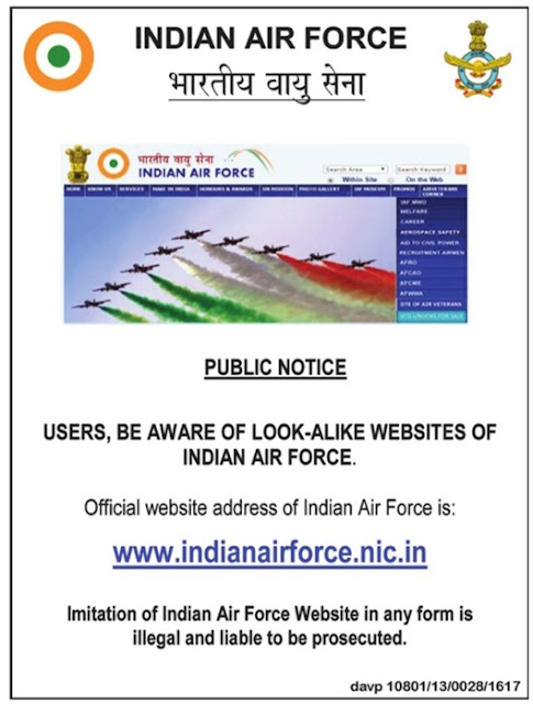 Indian Air Force Warning against the look a like websites