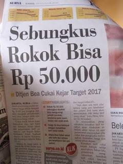 Harga Rokok Tidak Mungkin Jadi Rp50.000 Per Bungkus