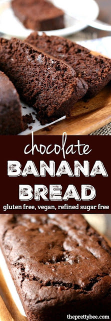 Healthy Chocolate Banana Bread - Gluten Free, Vegan & Refined Sugar Free