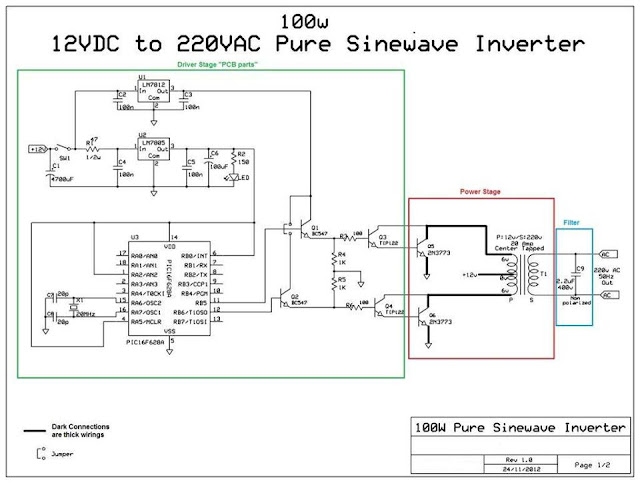 100w 12vdc to 220vac pure sinewave inverter