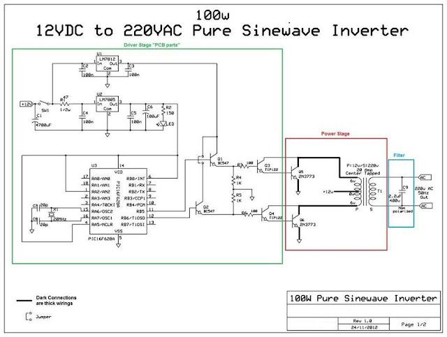 100w 12vdc to 220vac pure sinewave inverter