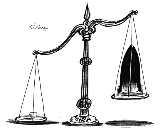 Ali Ferzat: Syria (cartoon with heart and rocket on balance weight