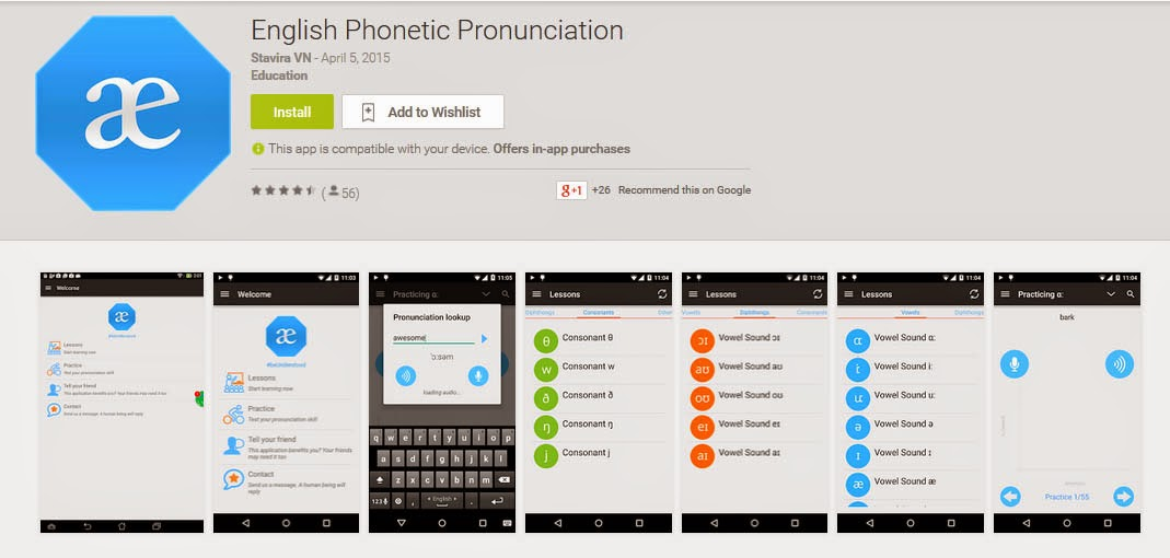 aplikasi android, belajar pronunciation, english pronunciation