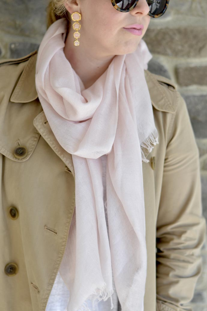 blush pink scarf outfit
