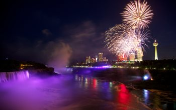 Wallpaper: Fireworks above Niagara Falls