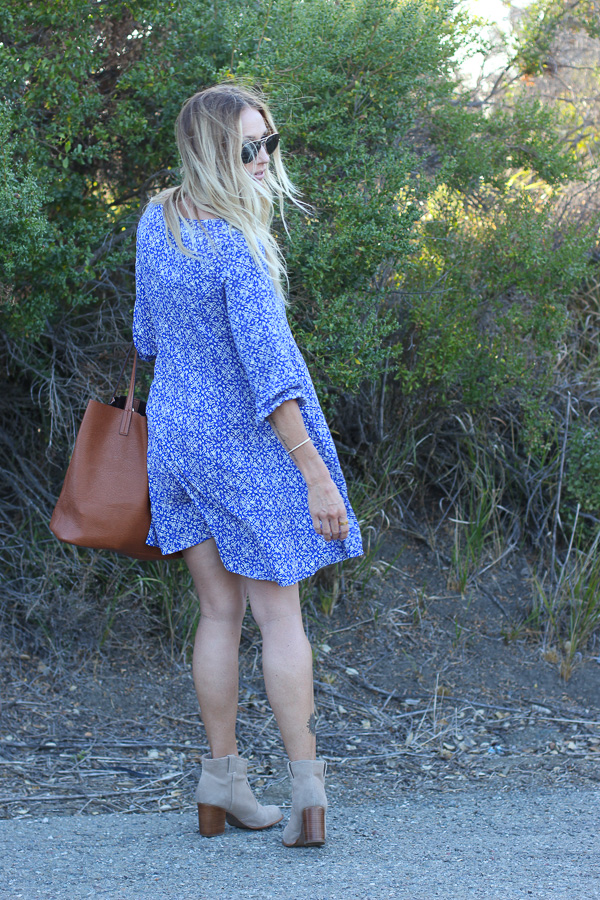 fall shift dress with booties
