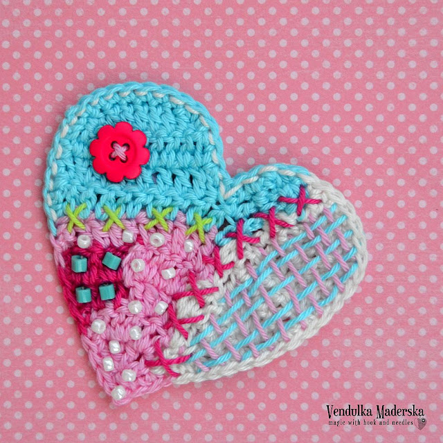 crochet patchwork heart by vendulkam