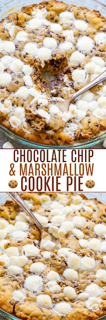 Gooey Chocolate Chip and Marshmallow Cookie Pie