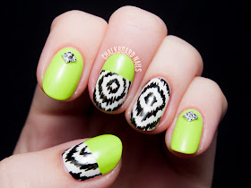 Neon blocked ikat nail art by @chalkboardnails