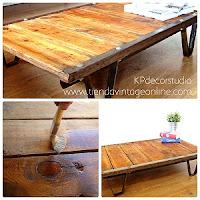 Comprar mesita estilo industrial en valencia. mesitas de centro auxiliares vintage de madera y metal restauradas.