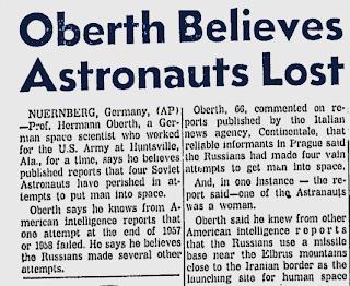Titolo e primi paragrafi dell'articolo del Gadsden Times su Oberth e i cosmonauti perduti.