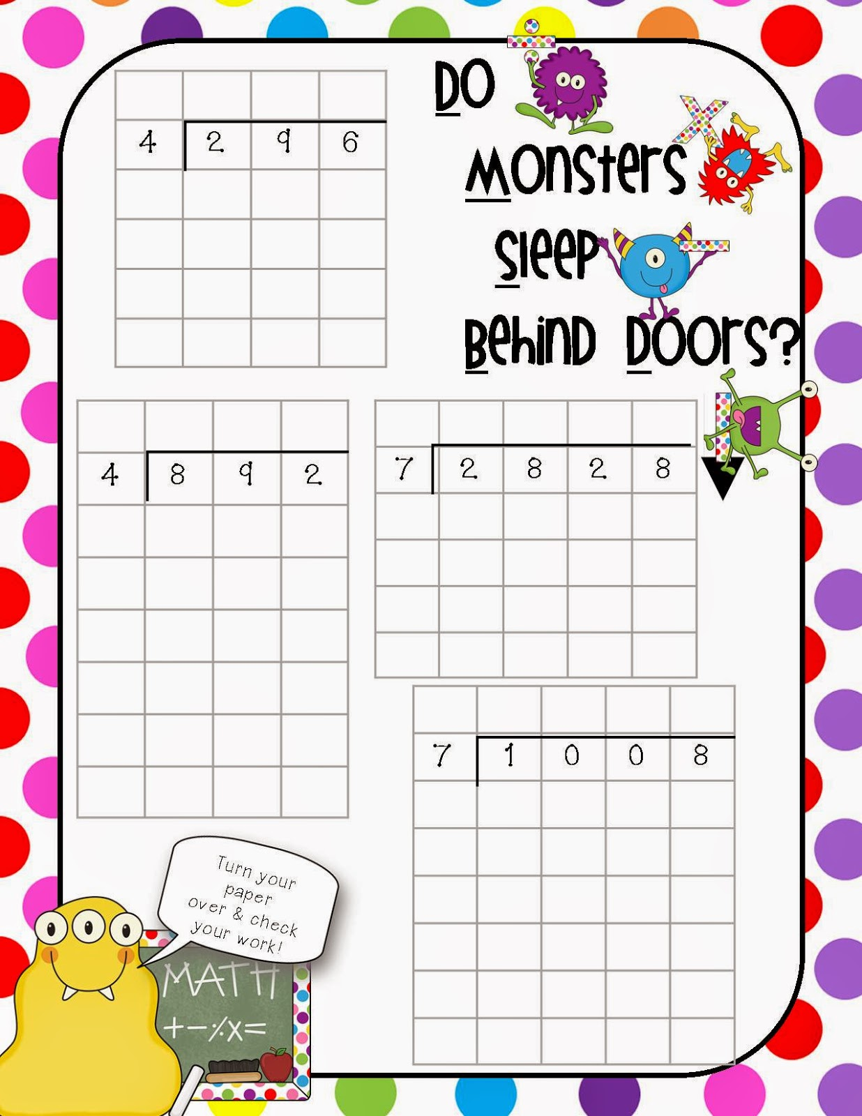 Once Upon A Creative Classroom Friday Flash Freebie And Some Long Division Help