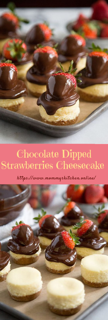 Chocolate Dipped Strawberries Cheesecake #desserts #easy