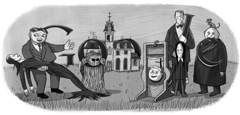 Google Doodle for Charles Addams 100th birthday