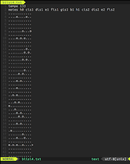 [Image: VIM screenshot of a text file containing music box markup.]