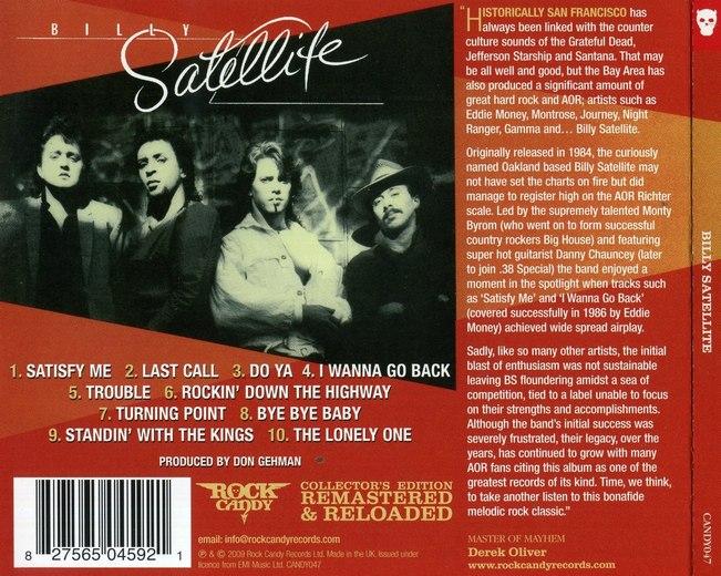 BILLY SATELLITE - Billy Satellite [Rock Candy Remastered & Reloaded] back
