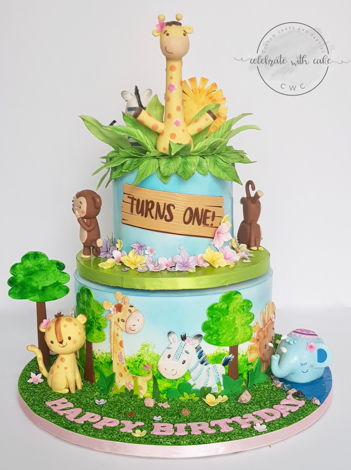 Celebrate With Cake Safari Animals Rotating 1st Birthday