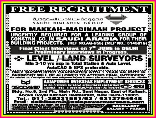 Free Recruitment Jobs for Makkah Madina Project - Gulf Jobs for