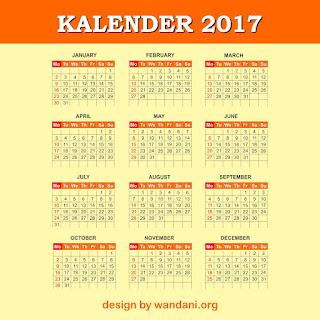 100% FREE : Download Desain Kalender 2017
