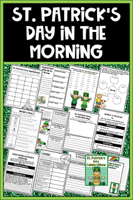St. Patrick's Day in the Morning by Eve Bunting is a fun tale about keeping up with the big kids and celebrating St. Patrick's Day. It is very rich with vocabulary and depth, and it works well for modeling characterization, author's craft, story events and retelling, and using text evidence for questioning. The main character is perfect for story writing too.  The unit includes a schema builder about St. Patrick's Day and Ireland, a vocabulary organizer, characterization about Jamie, story retelling, character change, setting, author's purpose anchor chart and response, questioning-guiding questions and text evidence, and writing in response to reading class book.