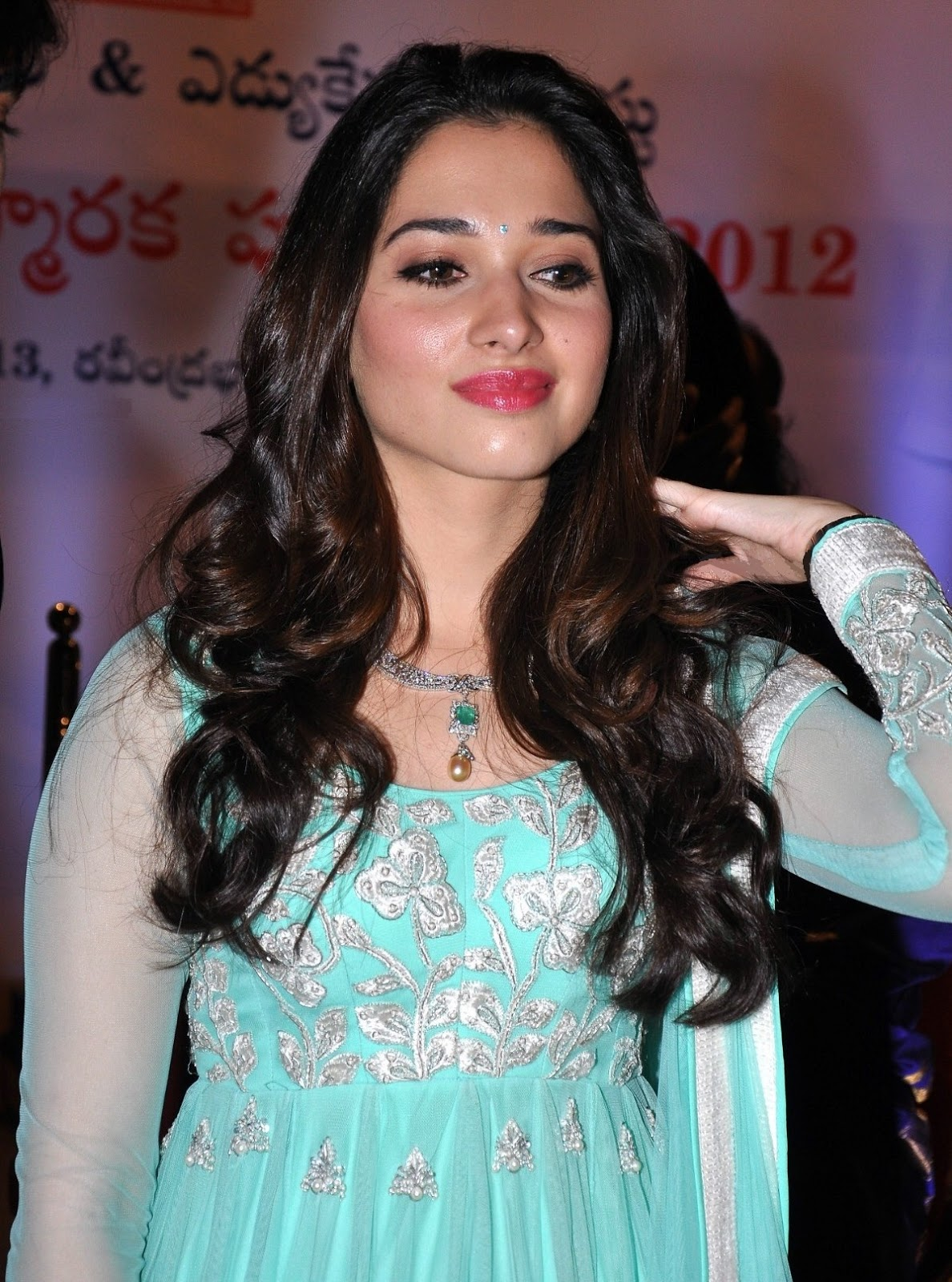 Tamanna Blue Saree: High Quality Bollywood Celebrity Pictures: Tamanna Bhatia