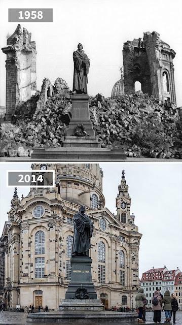 Antes y despúes Estatua de Martín Lutero en Dresde