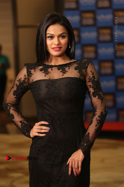 Actress Soniya Stills in Beautiful Black Long Dress at SIIMA Short Film Awards 2017  0040