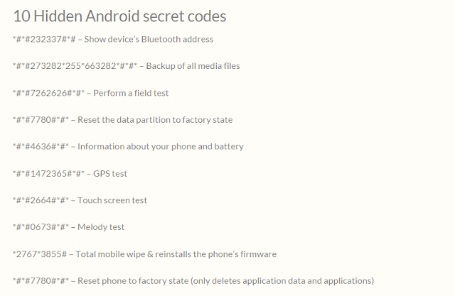 useful secret codes of android phone