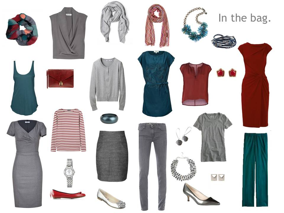 A Travel Capsule Wardrobe Ng In Grey Teal Claret