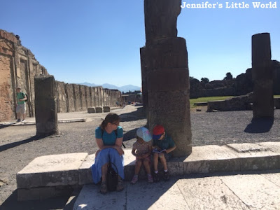 Family visiting Pompeii
