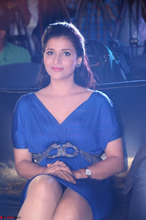 Mannara Chopra in Short Blue Dress at Rogue Movie Teaser Launch 1st March 2017 033.JPG