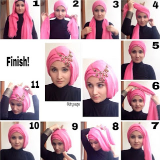 Tutorial hijab segi empat lebaran model turban