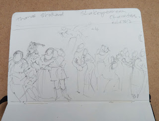 Shakespearean characters - pencil in small sketchbook