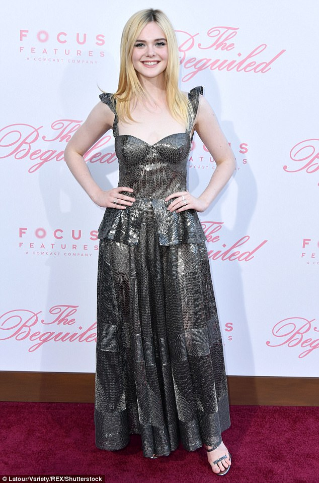 Elle Fanning stuns in gunmetal gown at The Beguiled LA premiere