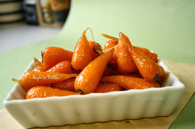 A dish of easy glazed carrots perfect for Christmas dinner from www.anyonita-nibbles.com