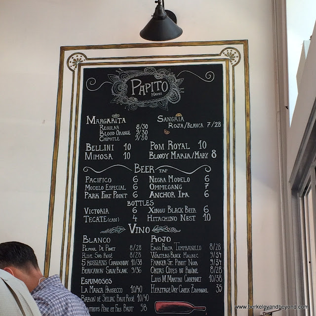 drink menu at Papito Hayes in San Francisco