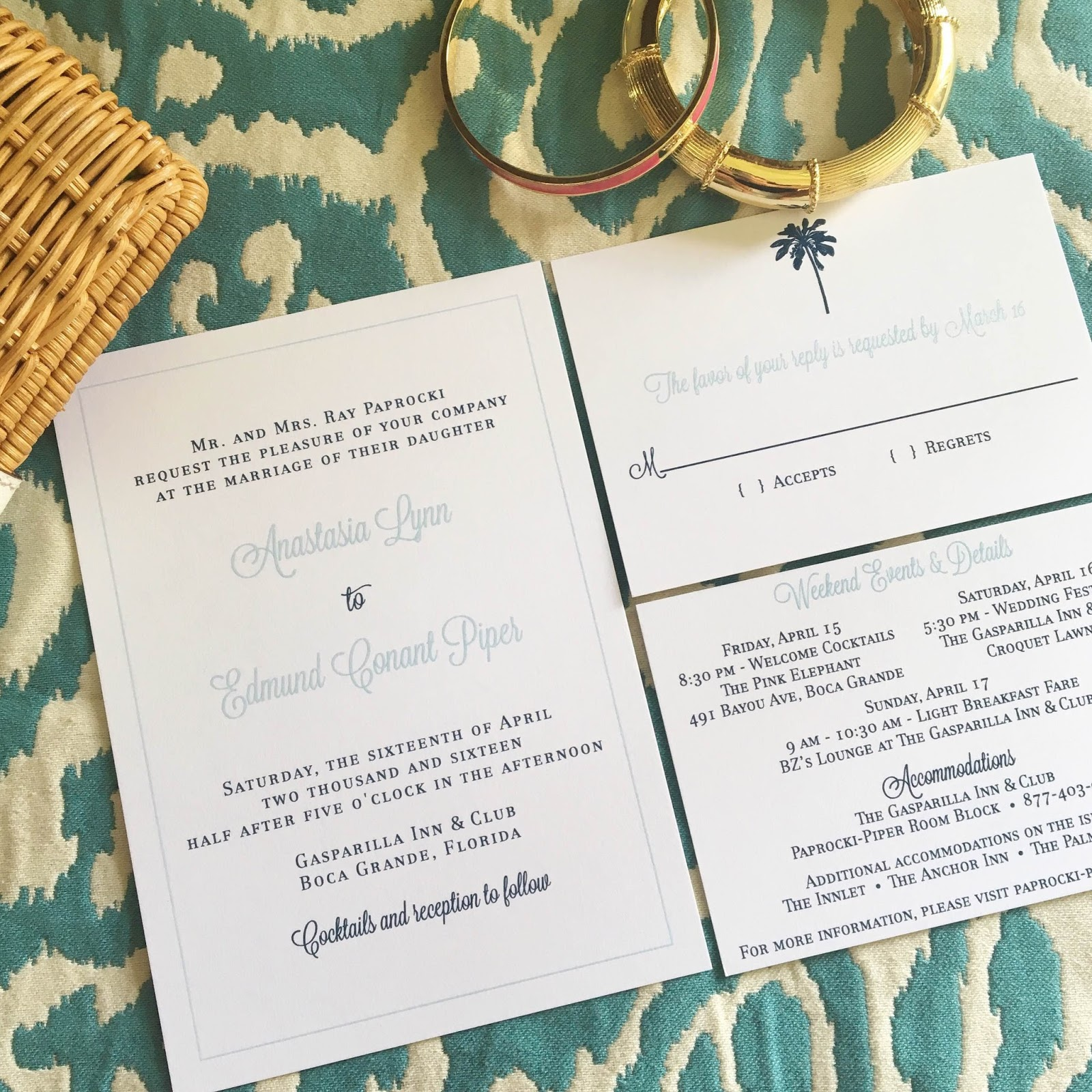 Classic navy & light blue wedding invitation, with a hint of beach ...