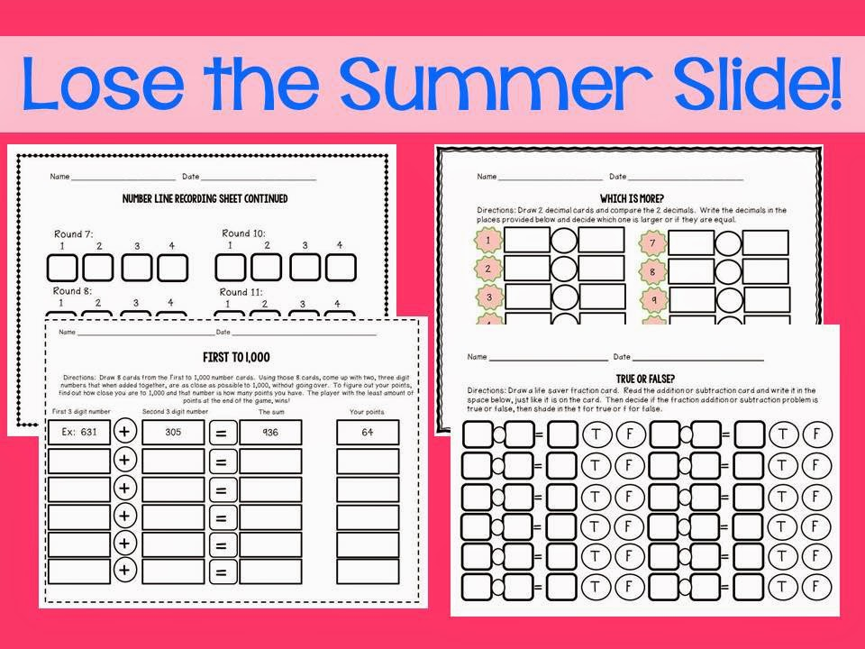 http://www.teacherspayteachers.com/Product/Summer-Math-Centers-Activities-243980