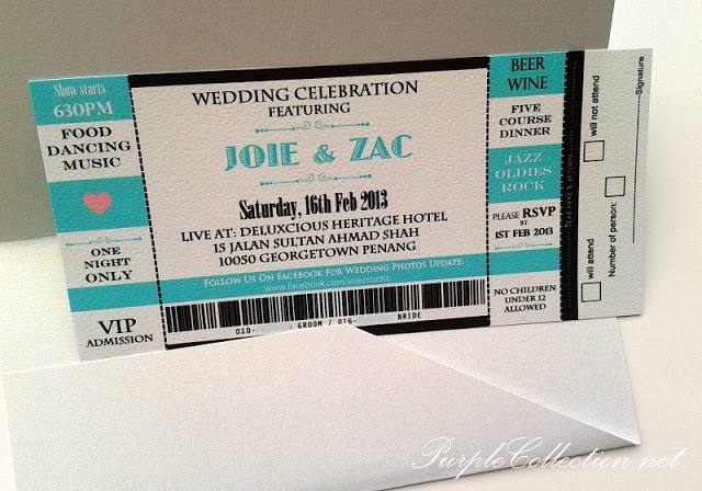 Turquoise Amp White Concert Ticket Wedding Boarding Pass Cards