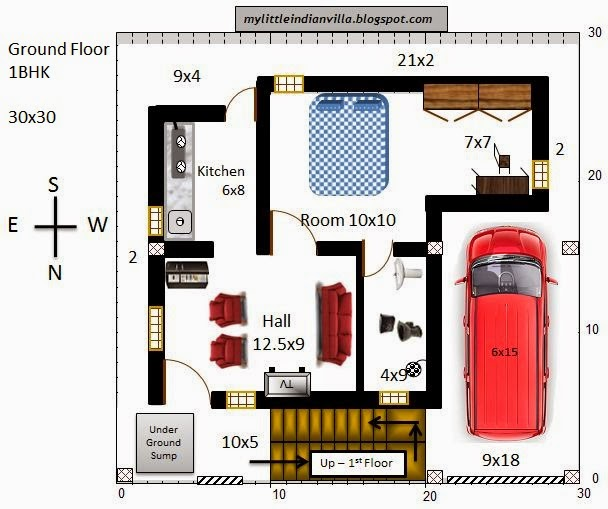 15 X 40 House Plan East Facing With Car Parking: My Little Indian Villa: #27#R20 1BHK And 3BHK In 30x30