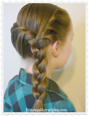 French twist in the front and back with braid.  Easy hairstyle for school mornings.