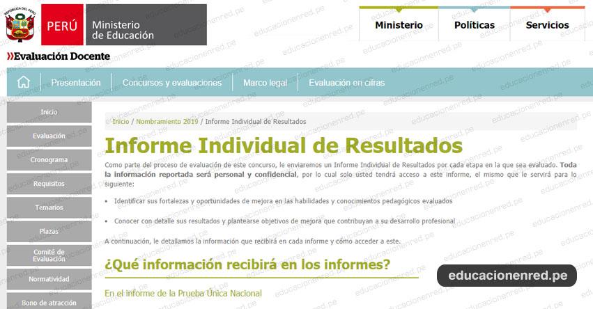 MINEDU enviará Informe Individual de Resultados de la Prueba Única Nacional de Nombramiento Docente 2019 - www.minedu.gob.pe
