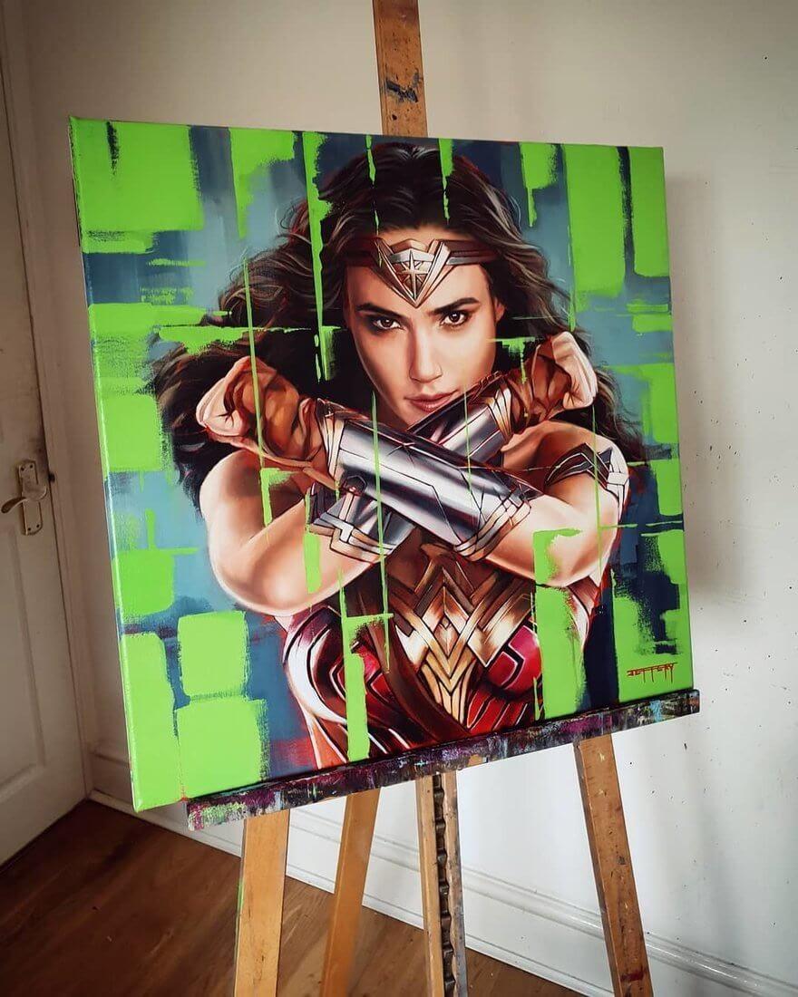 07-Wonder-Woman-Gal-Gadot-Ben-Jeffery-Superhero-and-Villain-Movie-Paintings-www-designstack-co