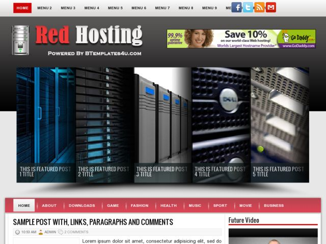 Red Hosting Blogger Template