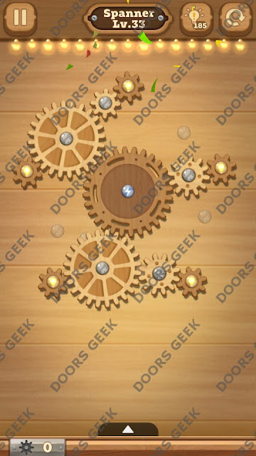 Fix it: Gear Puzzle [Spanner] Level 33 Solution, Cheats, Walkthrough for Android, iPhone, iPad and iPod