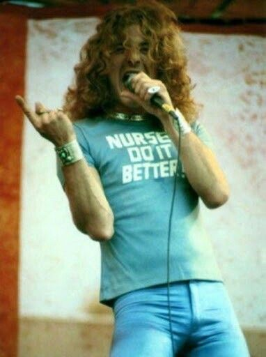 Nurses Do It Better blue t-shirt worn by Robert Plant of Led Zeppelin.  PYGOD.COM