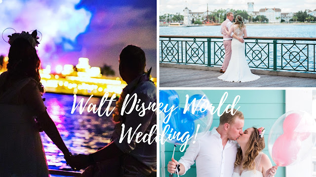 The image is made up of 3 photos forming a YouTube video thumbnail. The first features a couple silhouetted against the Magic Kingdom entrance with fireworks in the background. The second features the couple standing against a railing looking out towards Disney's Yacht and Beach club. The man is in a pink suit and the woman is in a white bridal gown. The third photo shows a close up of the couple kissing while holding blue and pink mickey mouse balloons.