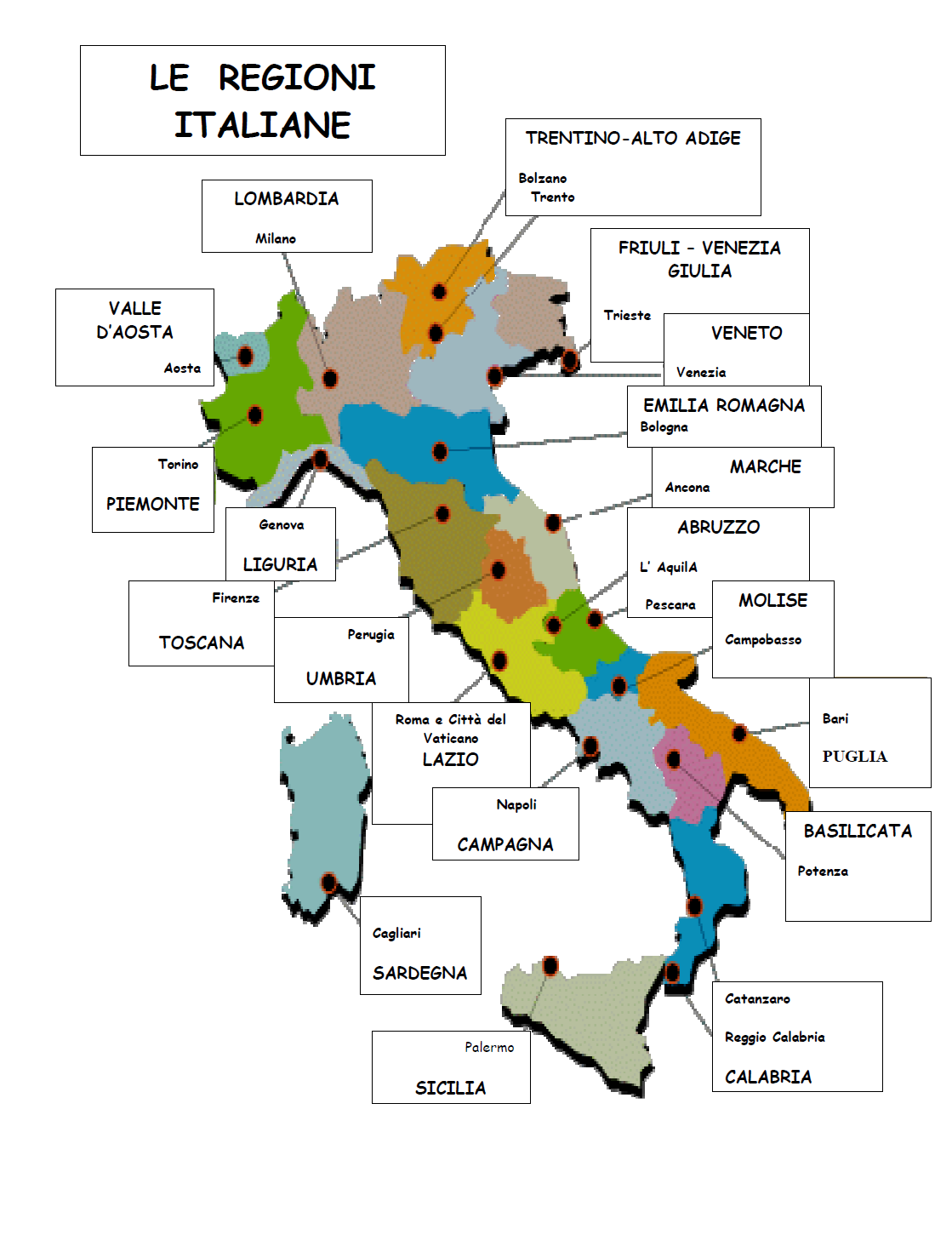 Cartina Politica Italia Regioni E Capoluoghi.Ciao Italia L Italia E Le Regioni