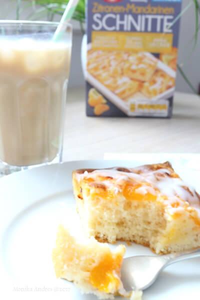Dr. Oetker Zitronen-Mandarinen-Schnitten mit Iced Cappuccino / eigene kleine Welt