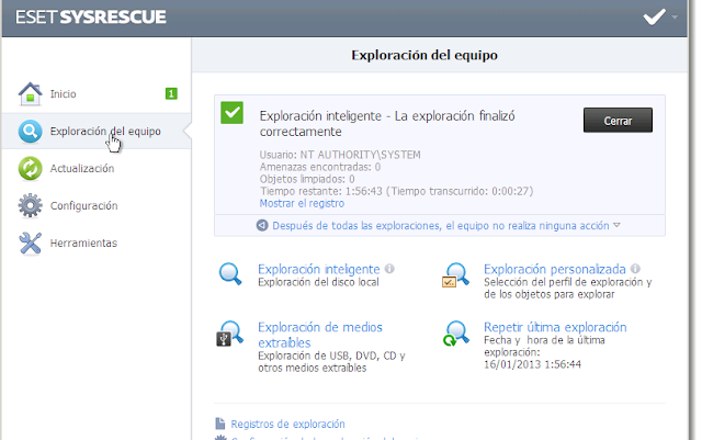 ESET SysRescue Versión 7.0.104.0 BETA